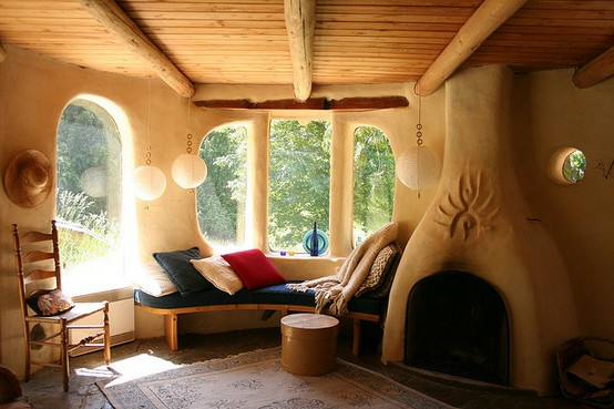 cob house fireplace interior